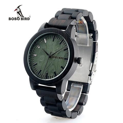 BOBO BIRD M04 Genuine Brand Designer Watches for Men Women Ebony Wooden Quartz Watch Wood Band Fashion Wristwatches