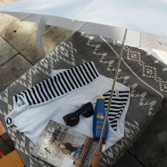 Sunbella umbrella   Idlebird cover-up   Karen Walker sunnies   Knotty beach towel   NIVEA moisturising sunscreen SPF50+   Daring and Disruptive by Lisa Messenger