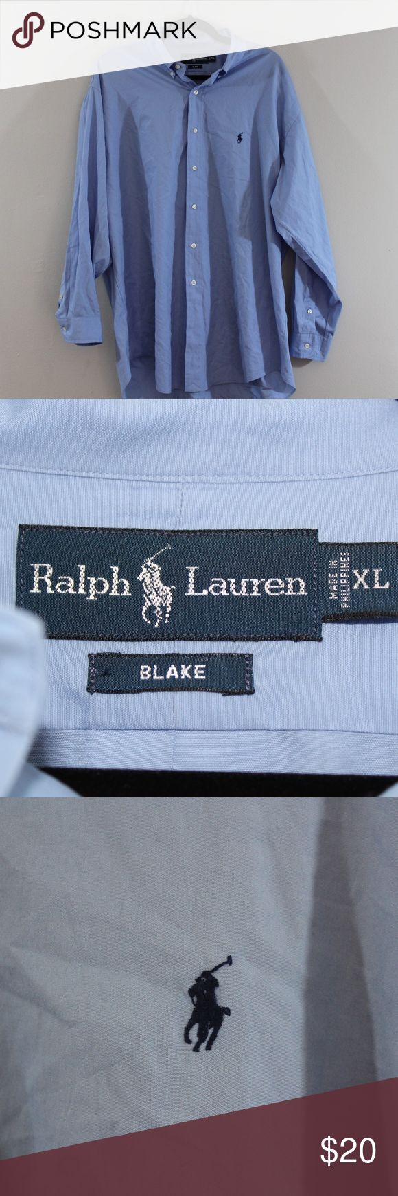 XL Ralph Lauren Blake Long Sleeve Dress Shirt Blue Ralph Lauren Blake Dress Shirt  Excellent dress shirt  Comes from a smoke-free household  Blue with a Blue Pony logo  The size is XL and the measurements are 30 inches pit to pit and 33.5 inches shoulder to base  Cotton  Thanks for looking, please do not hesitate to contact me   Check out my other items for sale in my store!  M1 Ralph Lauren Shirts Dress Shirts