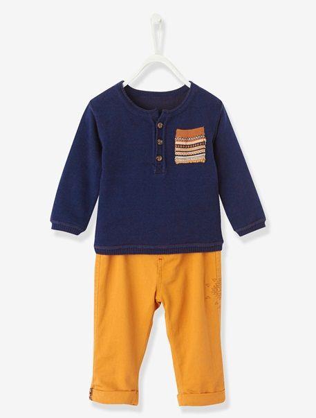 Baby Boys Outfit Set Navy / ochre