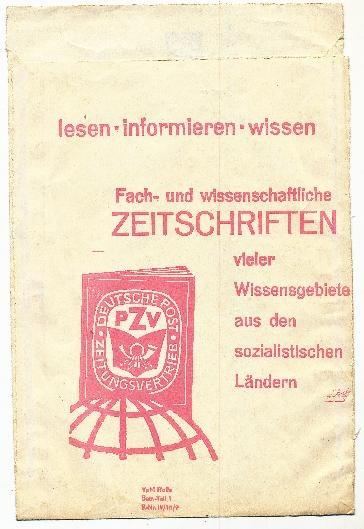 """DDR Museum - Museum: Objektdatenbank - Papiertüte """"Deutsche Post Zeitungsvertrieb""""    Copyright: DDR Museum, Berlin. Eine kommerzielle Nutzung des Bildes ist nicht erlaubt, but feel free to repin it!"""