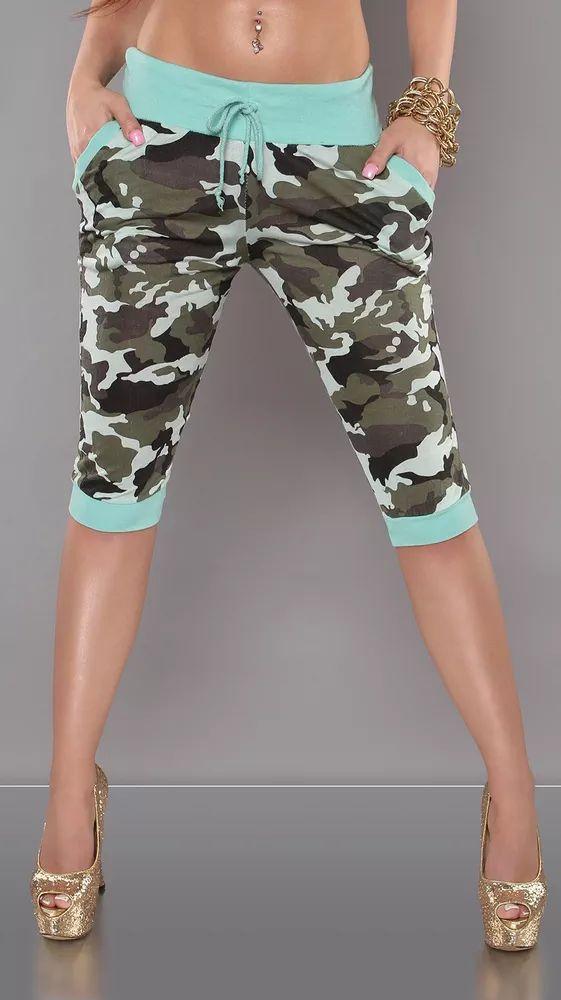 Moderní dámské army capri kalhoty