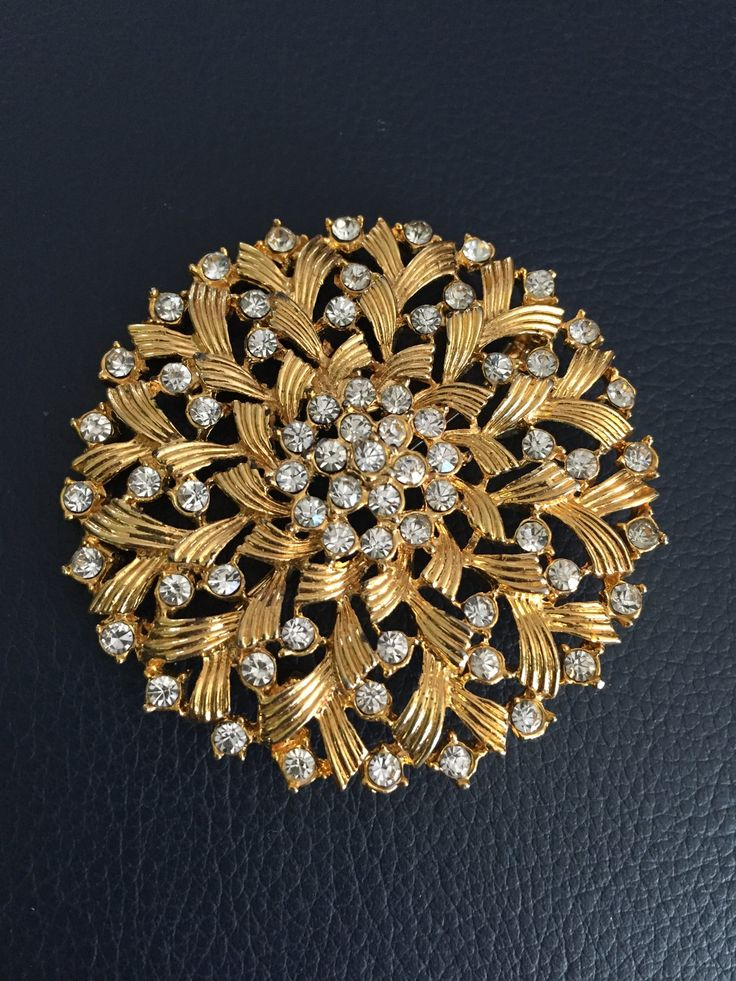 Gold and Crystal Brooch, Round Crystal and Gold Brooch, Large Crystal Brooch