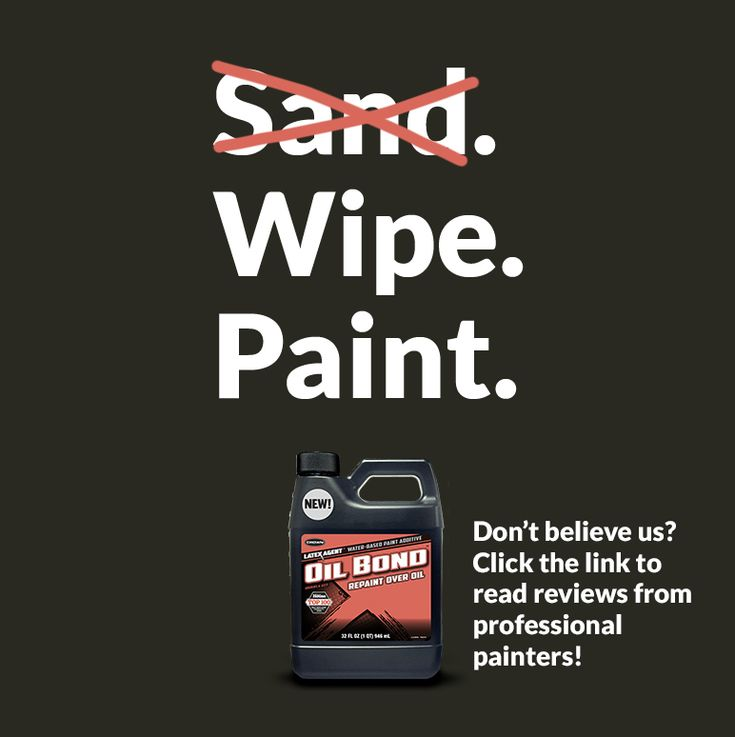 That's right. No sanding required! Paint cabinets, trim or doors on top of the finish without primer or sanding.   That's the power of Oil Bond Paint Additive  #oilbond