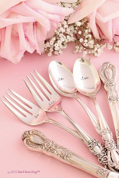 Wedding Silverware 6 Piece Set Reception Place Setting hand stamped silver plate…