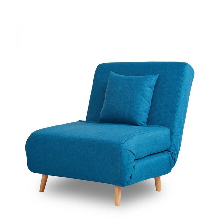 Fauteuil 1 place design bleu convertible pas cher Adron