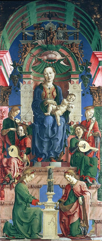 The Virgin and Child Enthroned by Cosimo Tura (circa 1475) (panel from the Roverella Polyptych altarpiece) National Gallery, London