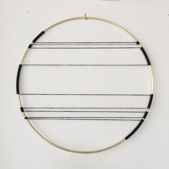 Hemp and Brass Horizon Art Wall Hanging (black)