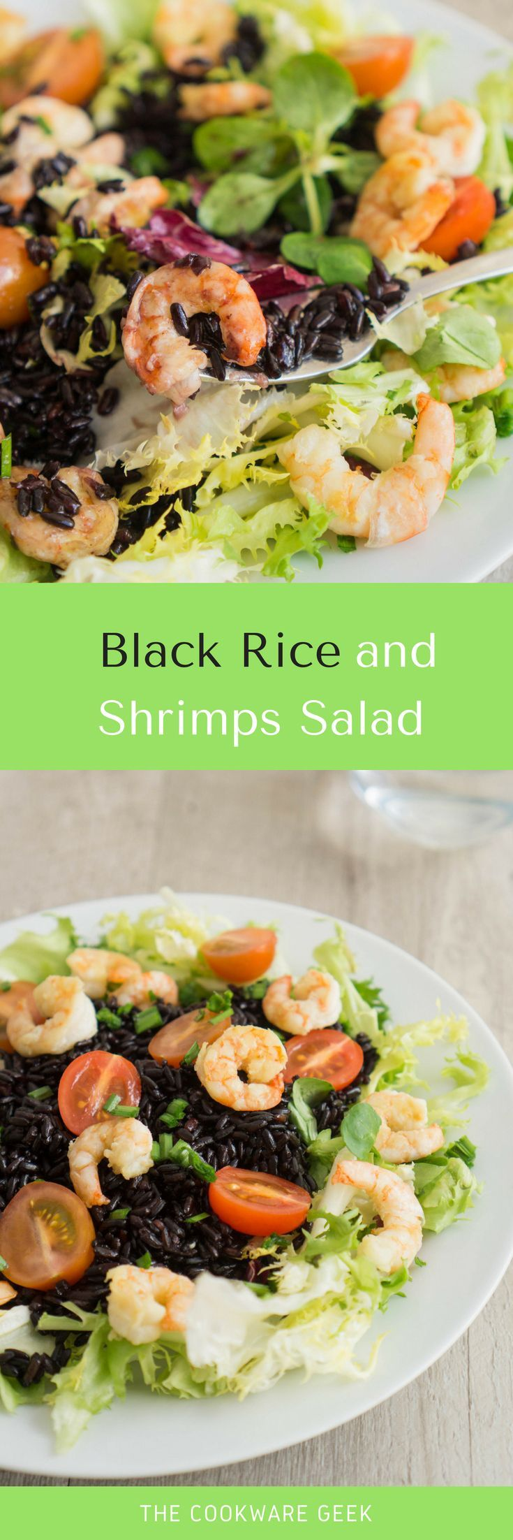 A healthy sour and sweet black rice and shrimps salad. An exotic twist to the regular shrimp salad. Easy and good for your body!