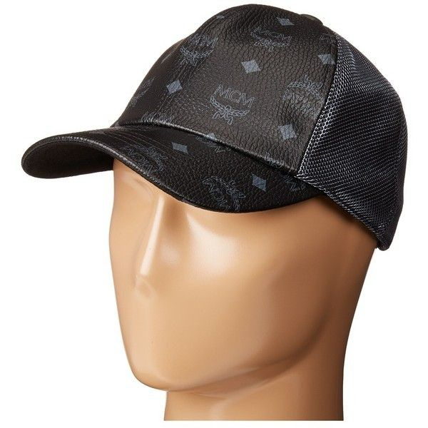 MCM Visetos Mesh Cap (Black) Caps ($260) ❤ liked on Polyvore featuring accessories, hats, mesh cap, six panel hat, adjustable baseball caps, baseball hat and mcm hat