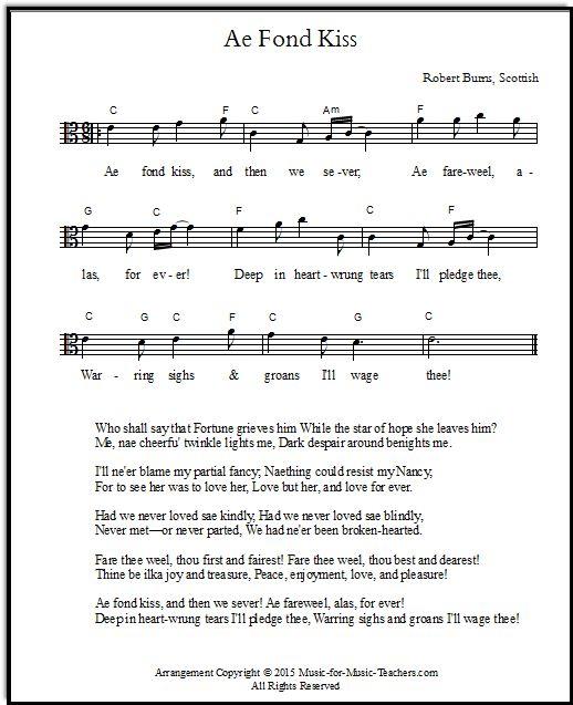 Free viola sheet music, Scottish song
