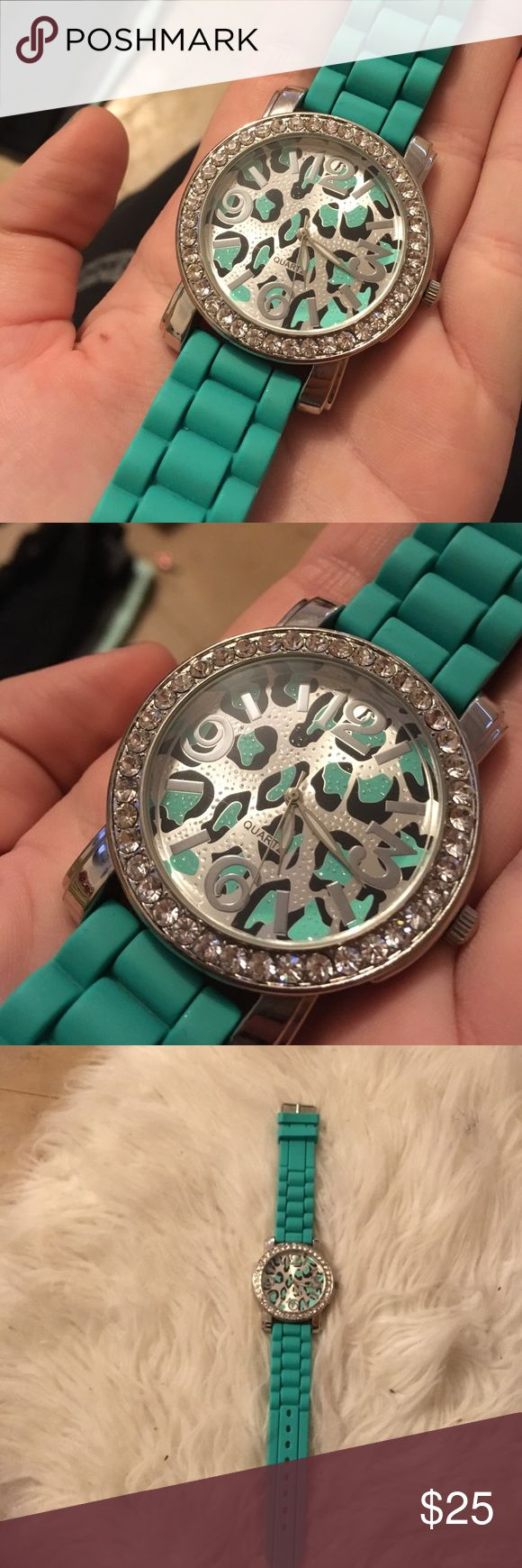 Leopard print teal watch Leopard print teal mint watch. Silver bling. Only worn once but needs new battery. Stainless steal Accessories Watches