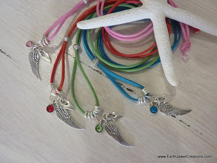 Kids Angel Wing Crystal Necklace - Inspirational handmade gemstone jewellery Earth Jewel Creations Australia