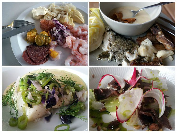 Four images showing plates of seafood, shrimp, soups, dried muskox meat and fish decorated with onion and angelica root.