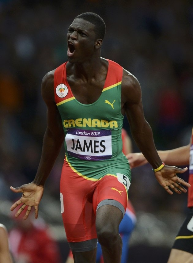 Grenada's Kirani James celebrates after winning the men's 400m final at the London 2012 Olympic Games at the Olympic Stadium August 6, 2012. REUTERS/Dylan Martinez (BRITAIN - Tags: OLYMPICS SPORT ATHLETICS)