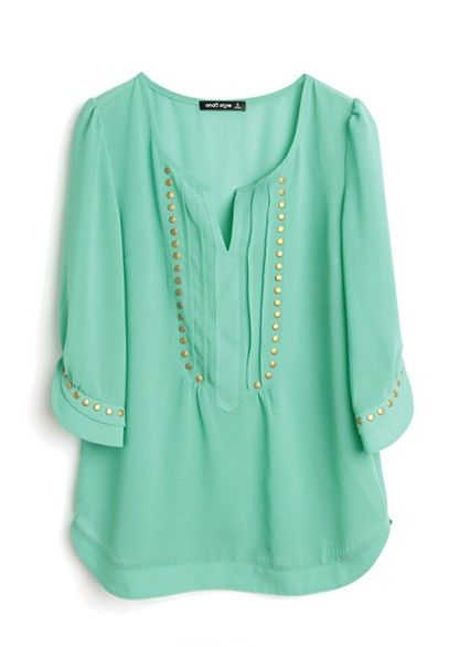 Green V-neck Half Sleeve Studded Pintucks Chiffon Blouse