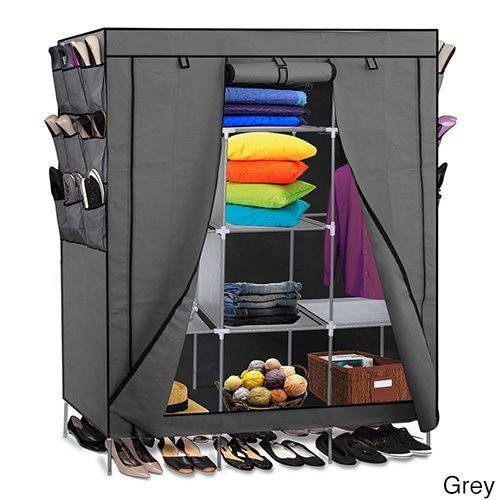 Oxgord Portable Wardrobe Closet Storage Organizer (Grey) (Nylon)