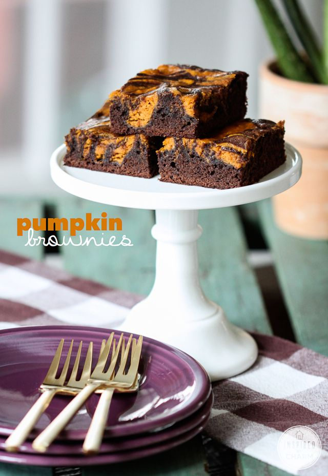 Pumpkin Brownies - these are a cinch to put together!
