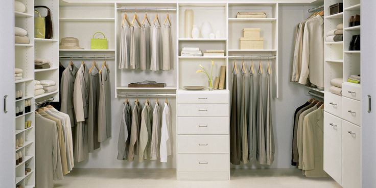 Walk-in Closet | California Closets... white with drawers  shelves plus hang space for dresses and pants.