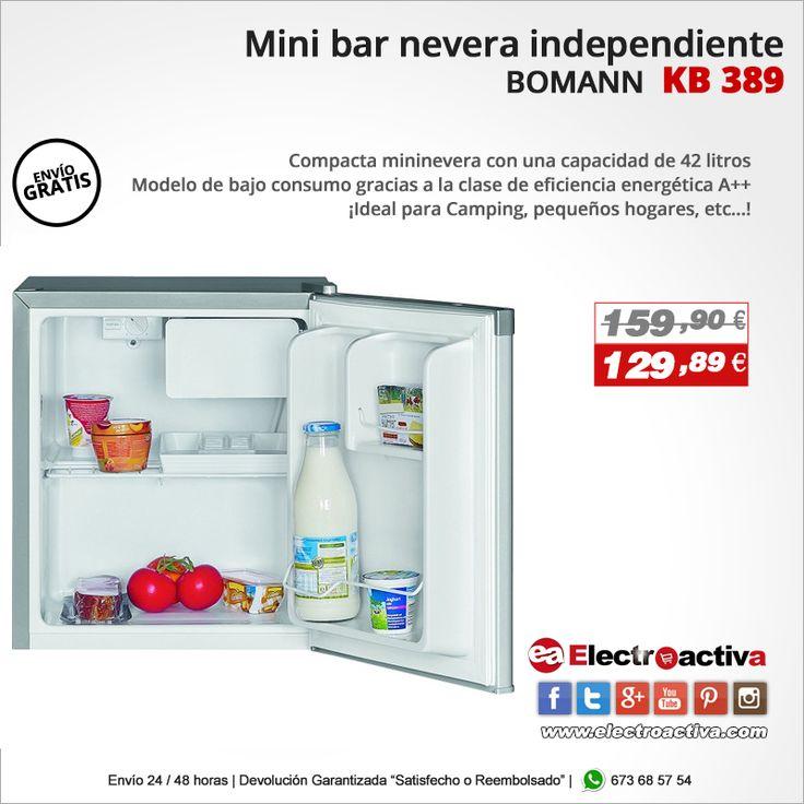 ¡Ideal para Camping, pequeños hogares, etc...! Mini Bar nevera BOMANN KB 389 https://www.electroactiva.com/bomann-kb389-mini-bar-nevera-congelador-compresor-42-litros-plata.html #Elmejorprecio #Nevera #Minibar #Chollo #Electrodomestico #PymesUnidas
