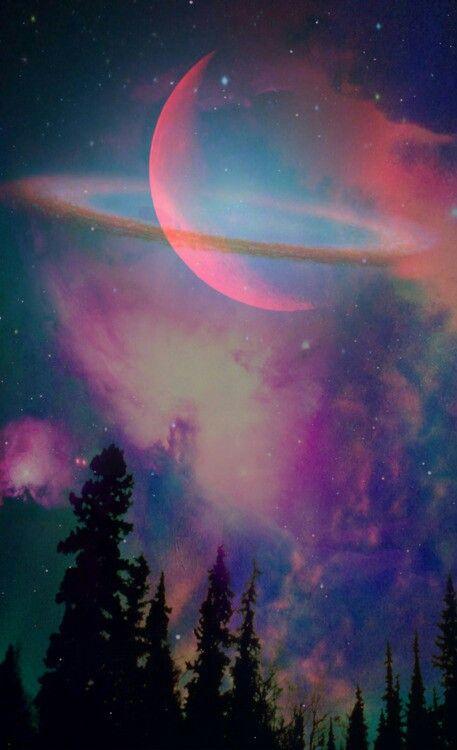 black against colour, sky + planets