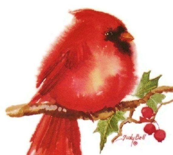 Whimsical Red Cardinal Watercolor Bird Print. $18.00, via ...