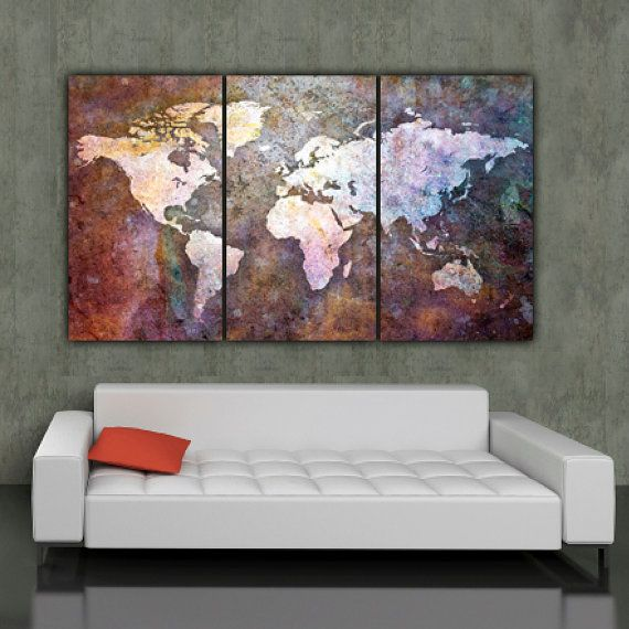 Three panel World Map on Gallery Wrapped Canvas makes a beautiful statement on any home or office wall.    Set measures 64 x 30 x 1.5 depth when