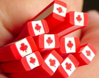 Canada Flag Polymer Clay Cane Canadian Flag Fimo Cane Scrapbooking Nail Art Nail Decoration Fake Mini Cupcake Topper CE001