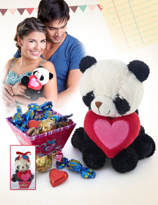 Oso panda corazón. Adiciónale cucharadas sorpresas de cariño. :)
