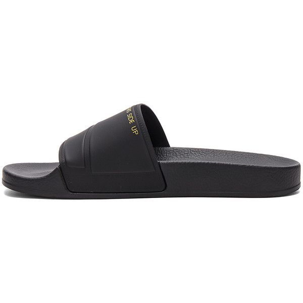 adidas by Raf Simons Bunny Adilette Slide (8,060 PHP) ❤ liked on Polyvore featuring shoes, pull on shoes, synthetic shoes, slip on shoes, adidas and bunny shoes