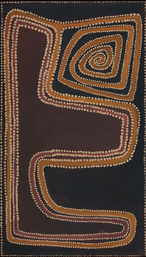 Canning Stock Route, Rover Thomas, 1989. Ochre and natural binders on canvas.