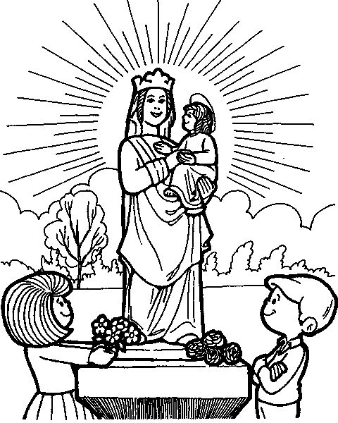 Month of May Marian Devotion Catholic Coloring Page