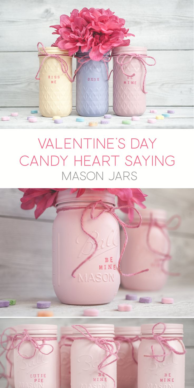 Hand stamped candy heart saying painted mason jar decor. Use for party favors, teachers gifts and more.