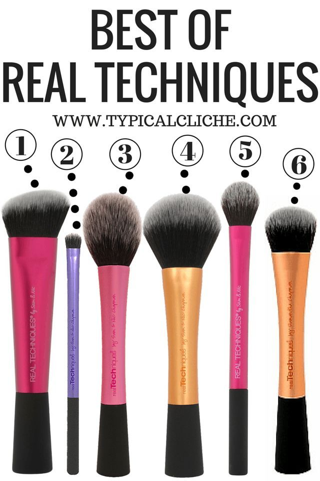 Best Real Techniques Brushes  1. Sculpting Brush 2. Accent Brush 3. Blush Brush 4. Powder Brush 5. Setting Brush 6. Expert Face Brush