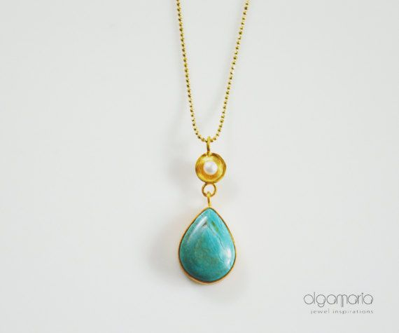 Luxurious Gemstone Necklace Drop Turquoise Pendant by OlgaMaria Jewel Inspirations