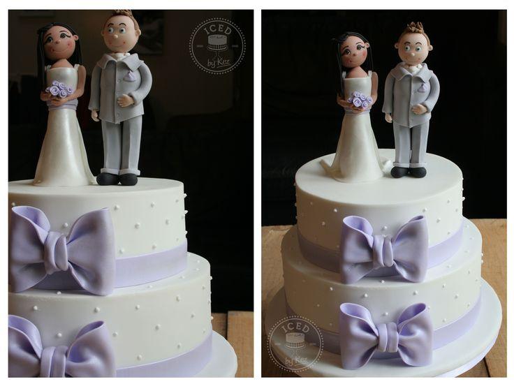 "Adam & Elaine's Wedding Cake :) Bride & Groom toppers made from fondant, 8"" & 10"" White Chocolate Mud Cakes :) kez* x"