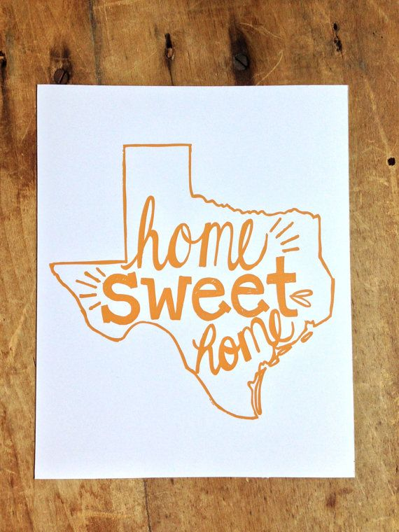 Home Sweet Home Texas print in orange by hollyandolivepaper, $18.00