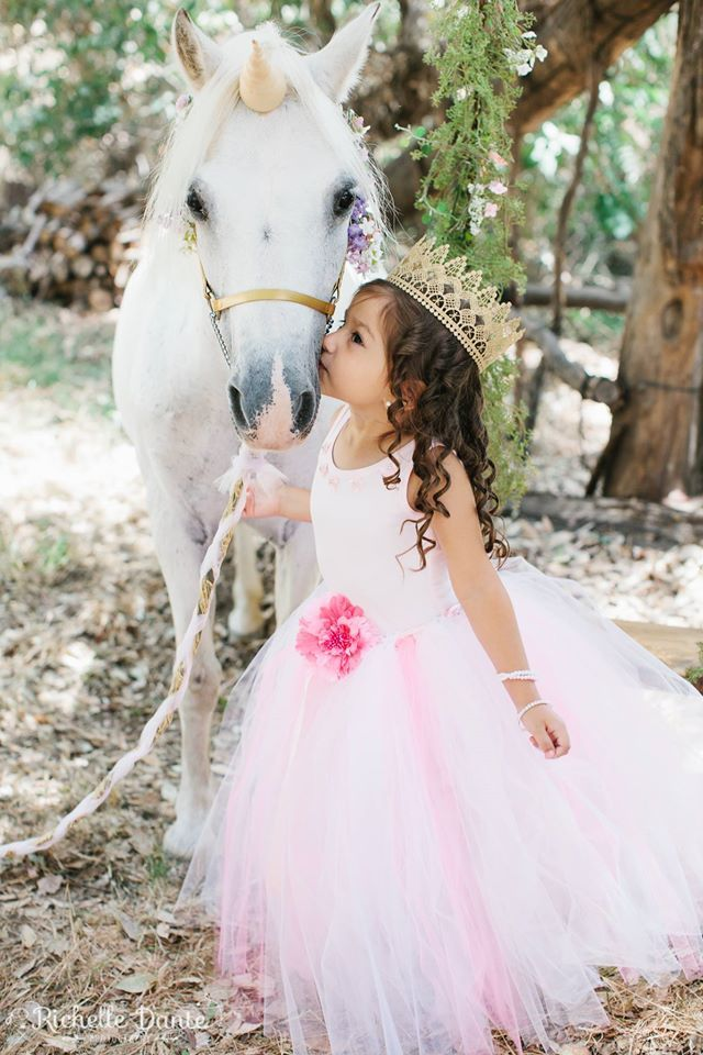 Is this not adorable-kissing a unicorn! Unicorn photoshoot www.AllGodsCreatures.net ~animals for photography