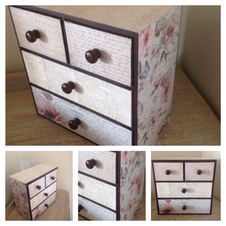 Little Box with drawers (30x30x15cm) Stained with dark brown.