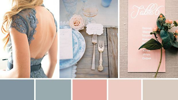 soft blue and peach wedding colour palette | www.onefabday.com