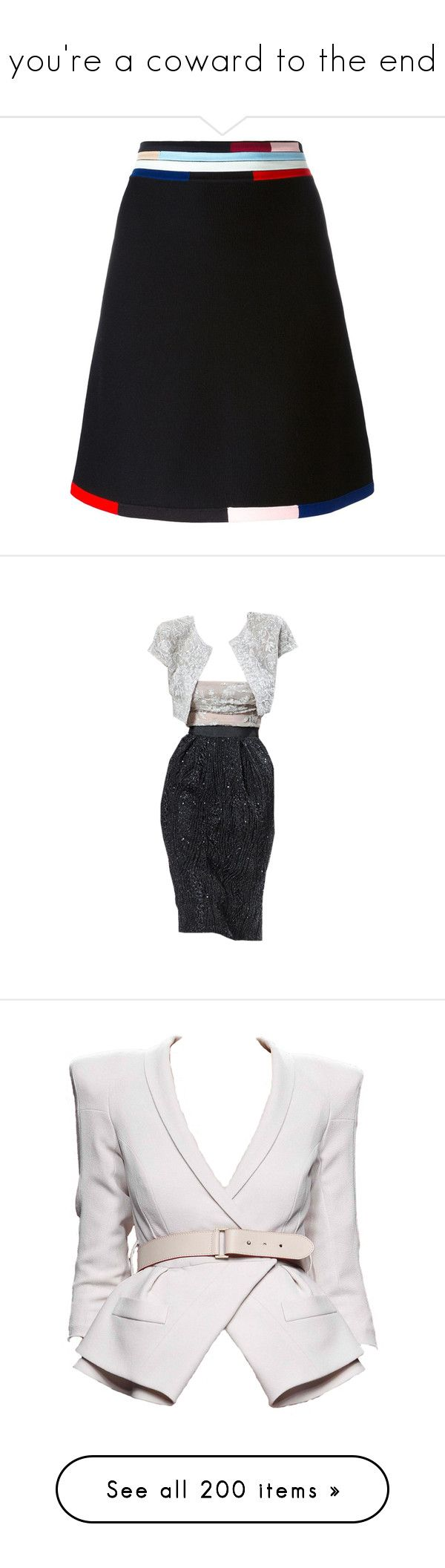 """""""you're a coward to the end"""" by minafromthe90s ❤ liked on Polyvore featuring skirts, black, christopher kane, high-waist skirt, striped a line skirt, multi color skirt, striped skirts, dresses, vestidos and short dresses"""