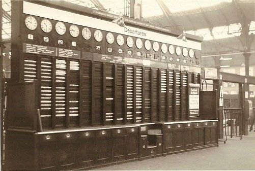 The old arrivals and departures board at Brighton Station.