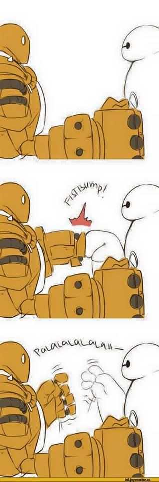 Blitzcrank and hero 6. To cute. To much