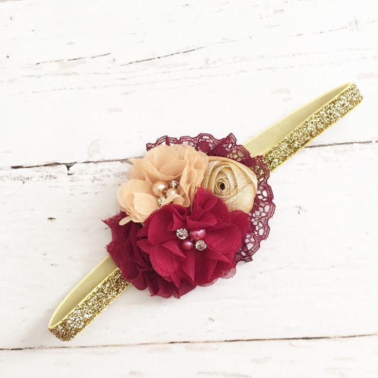 Burgundy cranberry gold headband // chiffon sparkle pearl headband // fall holiday christmas headband // baby girl headband by Goldfeatherboutique on Etsy (null)