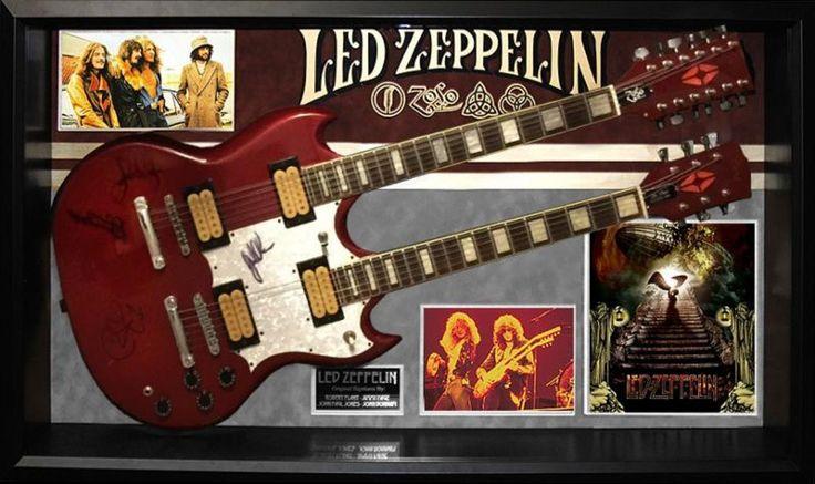 Led Zeppelin - Full Band Signed Guitar - Custom Framed