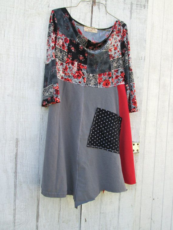 Upcycled tunic patchwork placket