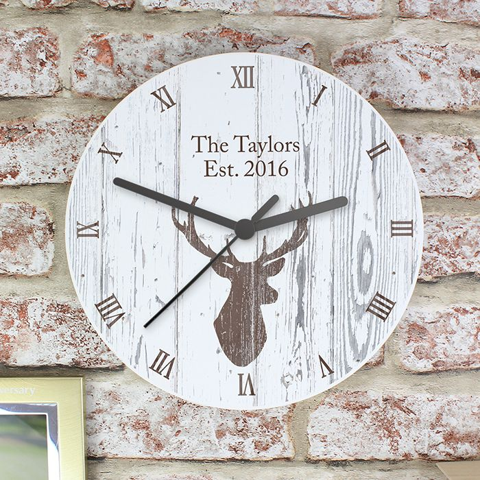 Personalised Highland Stag Shabby Chic Wooden Clock This clock can be personalised with 2 lines of text with up to 20 characters per line. Please note that all text is case sensitive and will appear as entered. £24.99