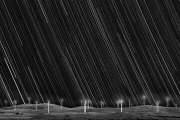 Matt James of Australia submitted a photo of star trails over the Capital Wind Farm on the shore of Lake George, near the town of Bungendore in Australia