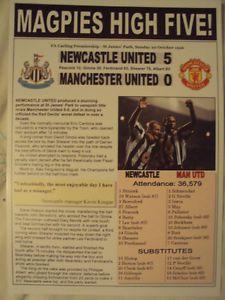 NEWCASTLE UNITED 5 MAN UTD 0 - 1996 - SOUVENIR PRINT
