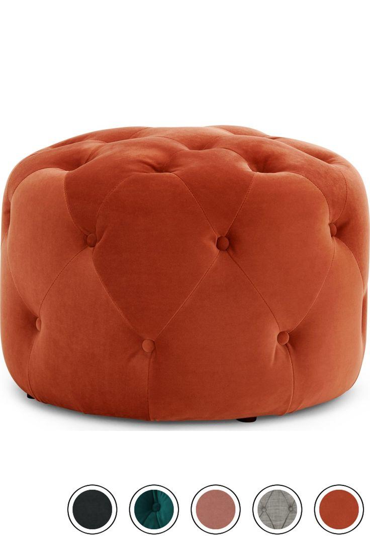 Hampton small round pouffe flame orange velvet pouffe